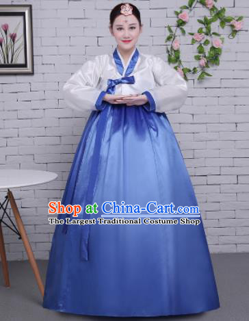 Korean Traditional Palace Costumes Asian Korean Hanbok Bride White Blouse and Blue Skirt for Women