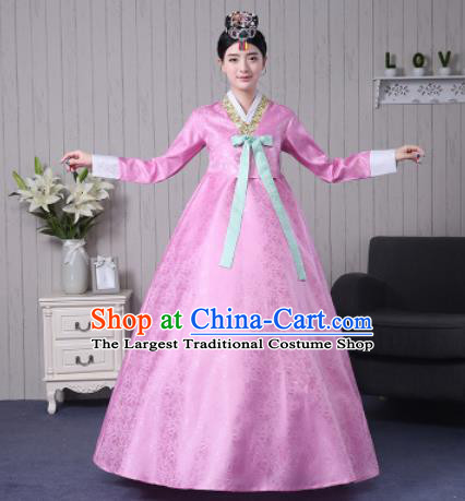 Traditional Korean Palace Costumes Asian Korean Hanbok Bride Pink Blouse and Skirt for Women