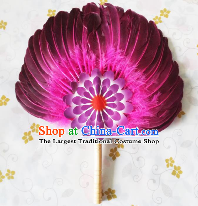 Traditional Chinese Rosy Feather Fans Dance Fans