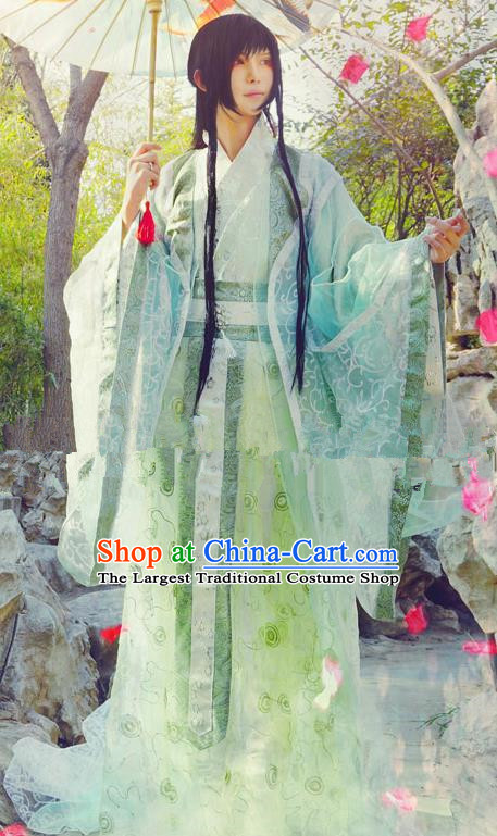 Chinese Ancient Swordsman Green Hanfu Han Dynasty Nobility Childe Costume for Men