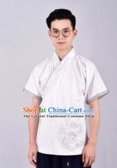 Chinese Ancient Swordsman Hanfu Han Dynasty Costume White Tang Suit Shirt for Men