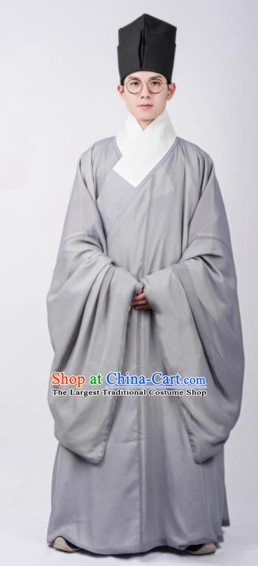 Chinese Ancient Scholar Grey Robe Traditional Ming Dynasty Taoist Priest Costumes for Men