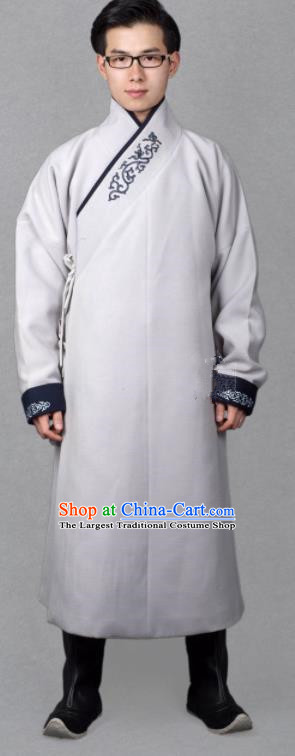 Chinese Ancient Imperial Guards Grey Robe Traditional Ming Dynasty Swordsman Costume for Men