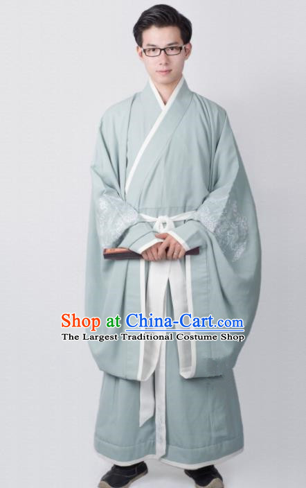 Chinese Ancient Minister Green Clothing Traditional Han Dynasty Chancellor Costume for Men