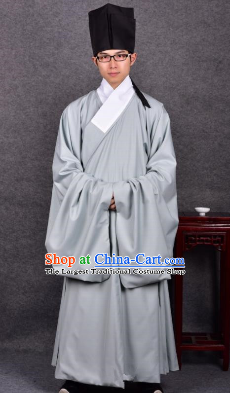 Chinese Ancient Traditional Ming Dynasty Taoist Priest Costume Grey Robe for Men