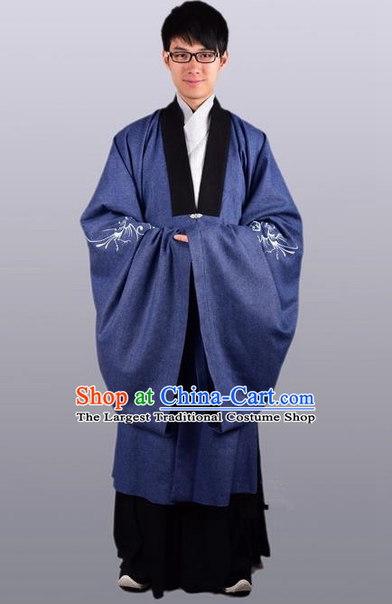 Chinese Ancient Traditional Ming Dynasty Taoist Priest Costume Scholar Blue Cloak for Men