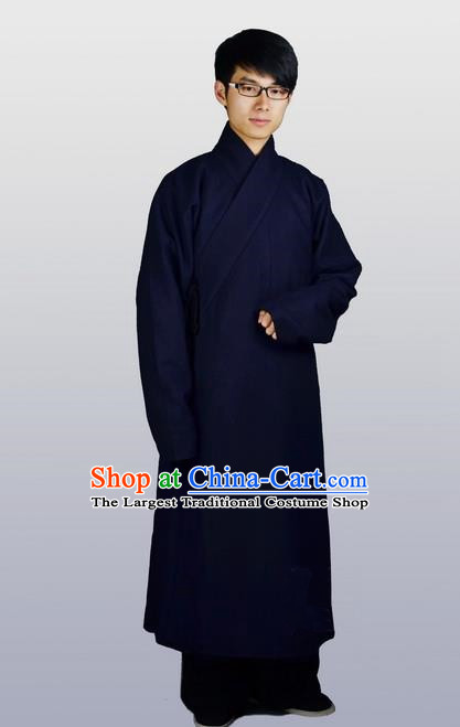 Chinese Ancient Traditional Ming Dynasty Swordsman Costumes Navy Robe for Men