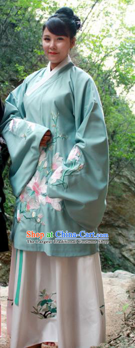 Chinese Ancient Nobility Lady Green Hanfu Dress Ming Dynasty Embroidered Costume for Rich Women