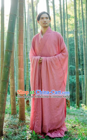 Chinese Ancient Traditional Jin Dynasty Scholar Swordsman Hermit Pink Costumes for Men
