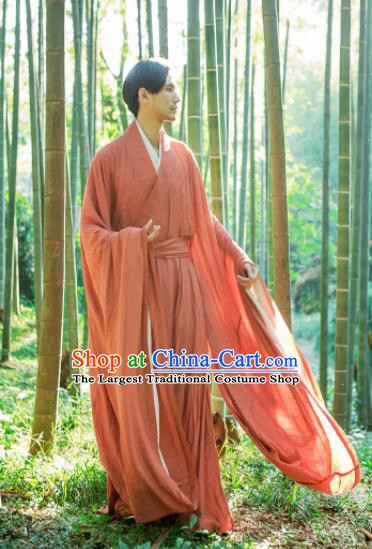 Chinese Ancient Traditional Jin Dynasty Scholar Swordsman Hermit Orange Costumes for Men