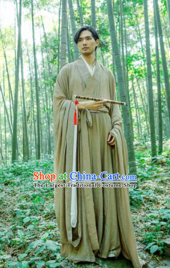 Chinese Ancient Traditional Han Dynasty Khaki Wide Sleeve Robe Scholar Swordsman Costumes for Men