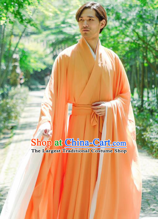 Chinese Ancient Traditional Jin Dynasty Orange Straight-Front Robe Scholar Swordsman Costumes for Men
