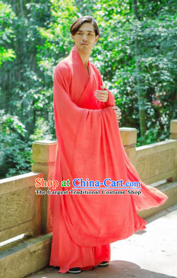 Chinese Ancient Traditional Jin Dynasty Red Straight-Front Robe Scholar Swordsman Costumes for Men