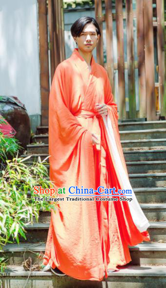 Chinese Ancient Traditional Jin Dynasty Swordsman Costumes Scholar Orange Straight-Front Robe for Men