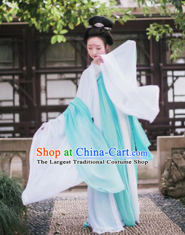 Traditional Chinese Tang Dynasty Imperial Consort Costume Ancient Palace Maidenform White Hanfu Dress for Women