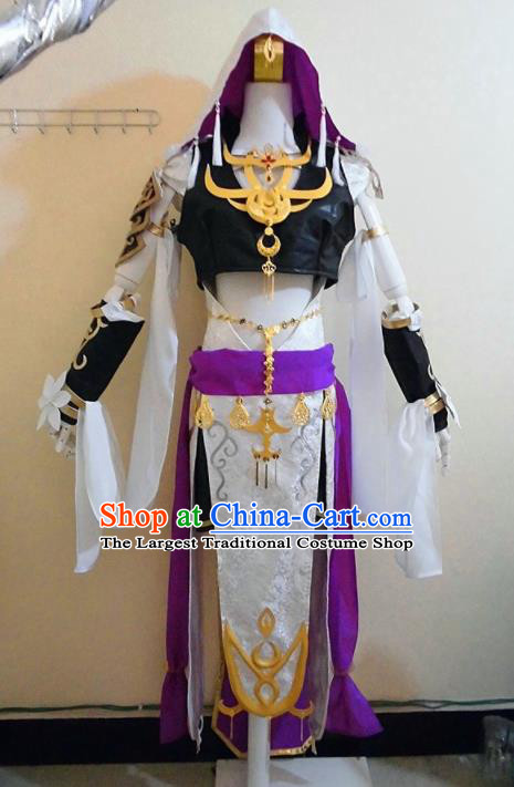 Asian Chinese Cosplay Female Knight Swordsman Costume Ancient Young Lady Dress for Women
