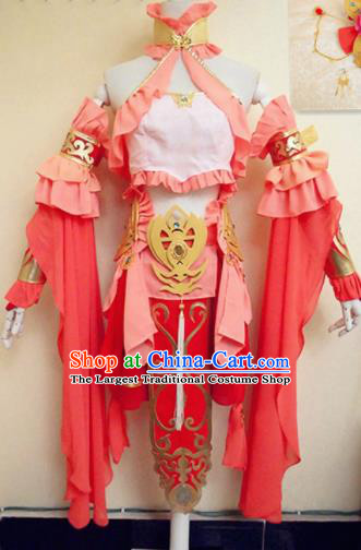 Asian Chinese Cosplay Female Warrior Knight Pink Costume Ancient Swordsman Clothing for Women