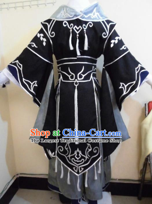 Asian Chinese Cosplay Taoist Black Customized Costume Ancient Swordsman Clothing for Men