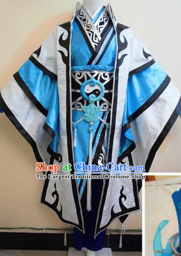 Asian Chinese Cosplay Taoist Customized Costume Ancient Swordsman Clothing for Men