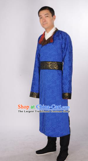 Chinese Traditional Tang Dynasty Imperial Bodyguard Costumes Ancient Minister Blue Robe for Men