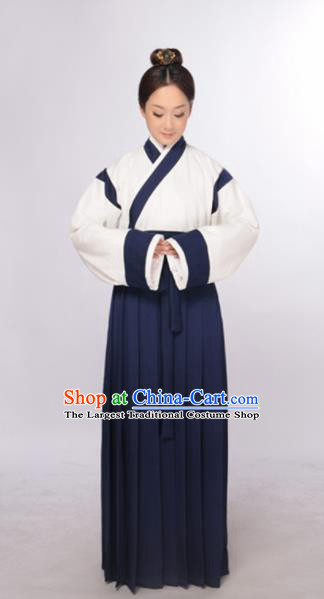 Traditional Chinese Ming Dynasty Taoist Nun Costume Ancient Young Lady Hanfu Dress for Women