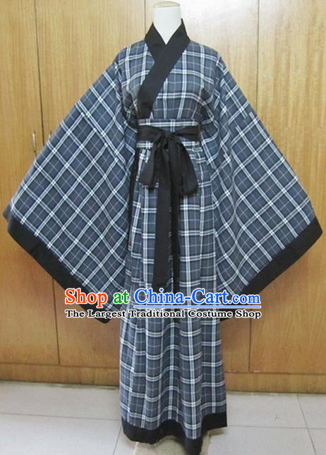 Chinese Traditional Han Dynasty Scholar Costumes Ancient Swordsman Grey Robe for Men