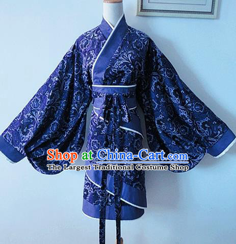 Traditional Chinese Han Dynasty Young Lady Navy Hanfu Dress Ancient Swordsman Costume for Women