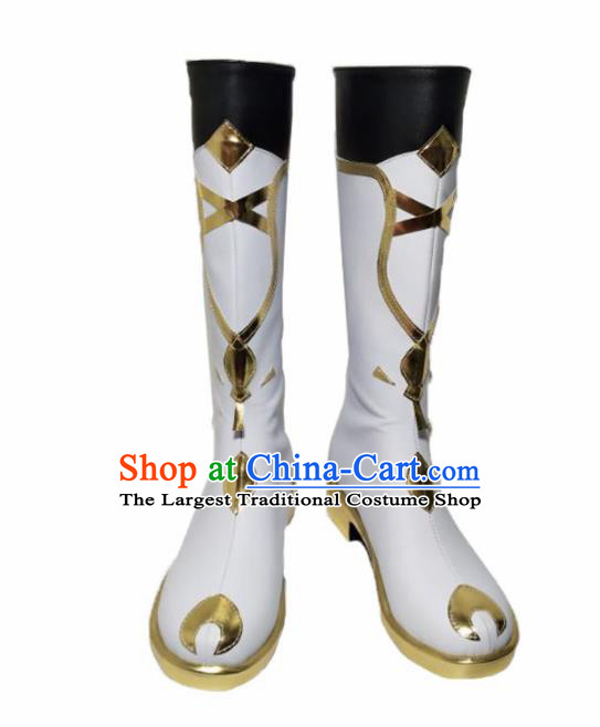 Asian Chinese Cosplay Cartoon Shoes Ancient Swordsman White Boots for Men