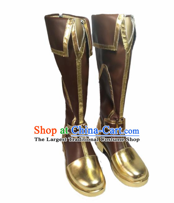 Asian Chinese Cosplay Cartoon Knight Shoes Ancient Swordsman Brown Boots for Men