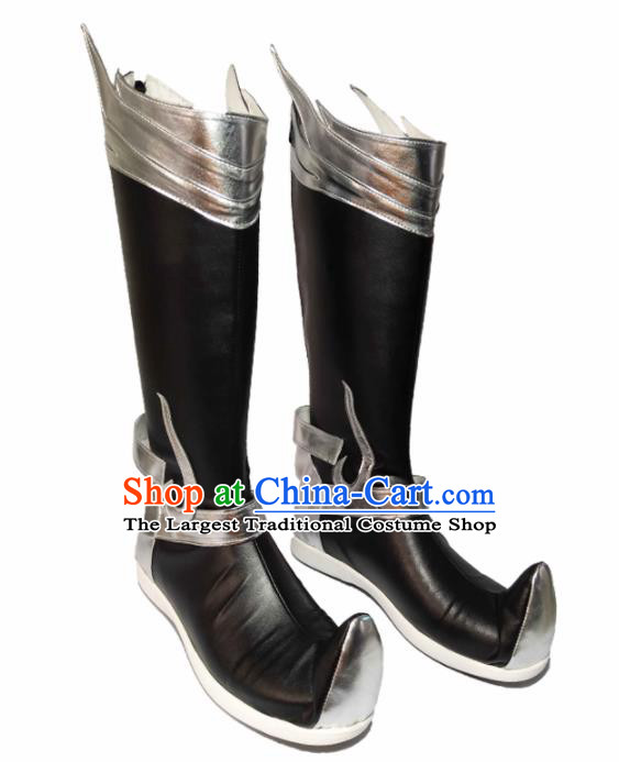 Asian Chinese Cosplay Cartoon General Shoes Ancient Swordsman Black Boots for Men