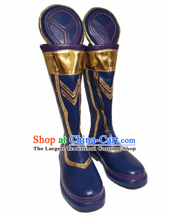 Asian Chinese Cosplay Cartoon General Shoes Ancient Swordsman Blue Boots for Men