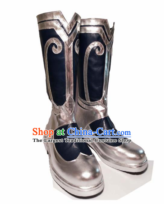 Asian Chinese Cosplay Cartoon General Shoes Ancient Swordsman Argent Boots for Men