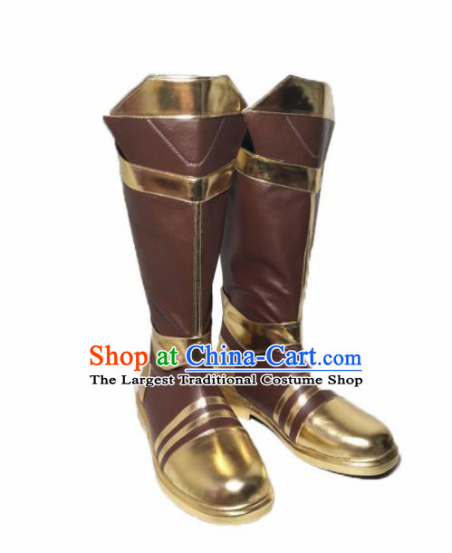 Asian Chinese Cosplay Cartoon Shoes Ancient Swordsman Brown Boots for Men