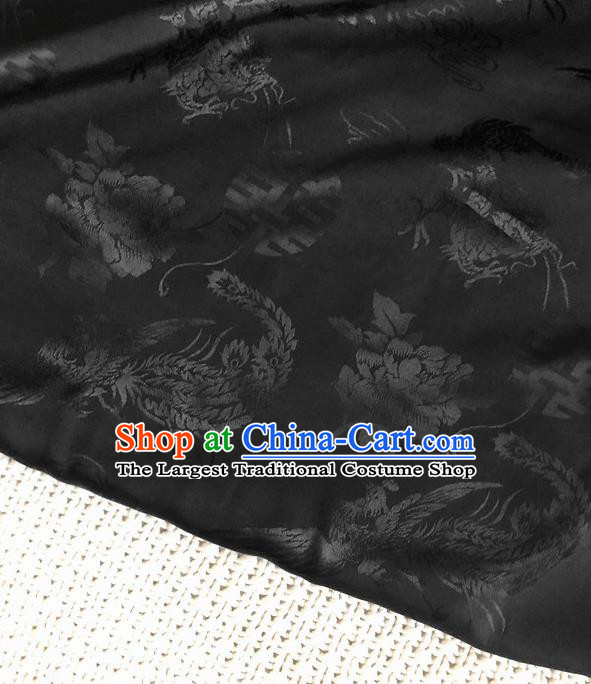 Asian Chinese Traditional Cheongsam Silk Fabric Royal Phoenix Pattern Black Brocade Cloth Silk Fabric
