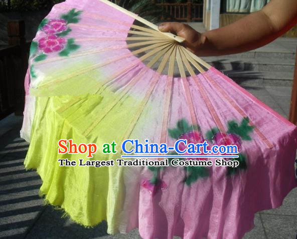 Traditional Chinese Crafts Folding Fan China Folk Dance Fans Pink Silk Fans