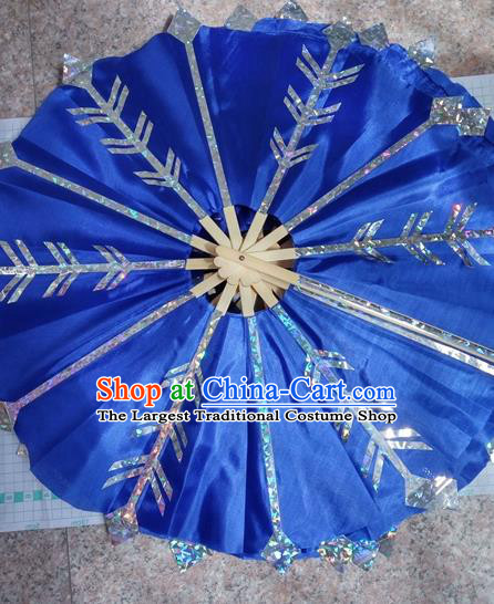 Traditional Chinese Crafts Folding Fan China Folk Dance Fans Blue Circular Fans