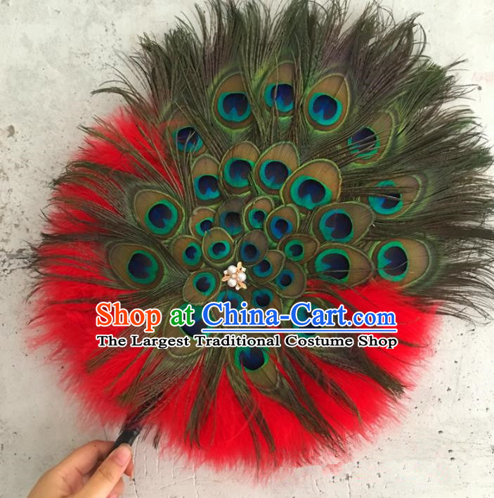 Traditional Chinese Crafts Feather Fan China Folk Dance Bride Red Peacock Feather Fans
