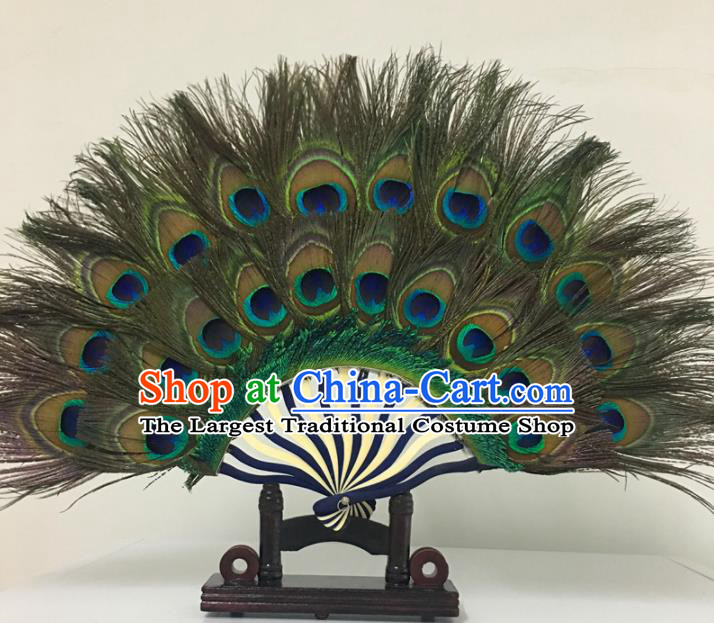 Traditional Chinese Crafts Feather Fan China Folk Dance Peacock Feather Fans