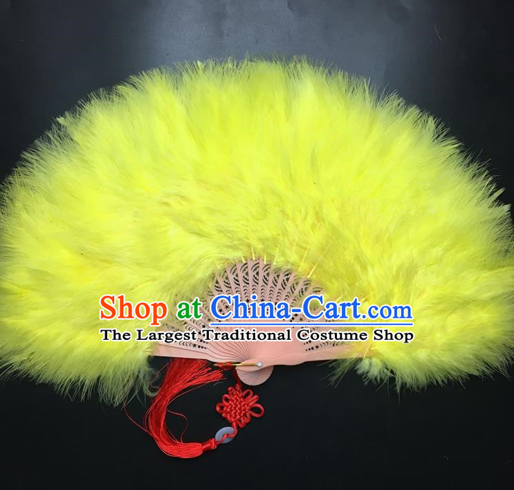 Traditional Chinese Crafts Yellow Feather Folding Fan China Folk Dance Feather Fans