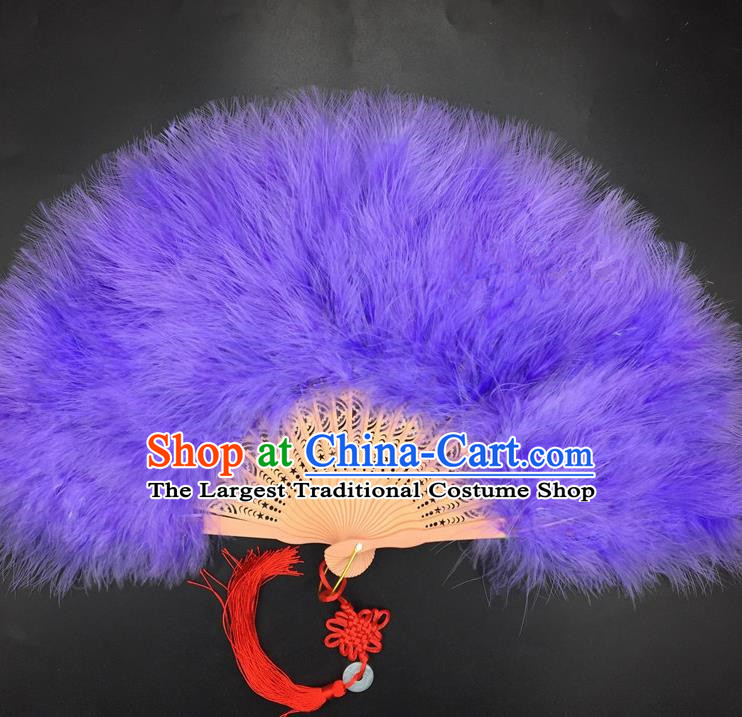 Traditional Chinese Crafts Purple Feather Folding Fan China Folk Dance Feather Fans