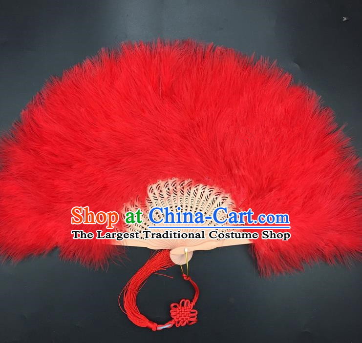 Traditional Chinese Crafts Red Feather Folding Fan China Folk Dance Feather Fans