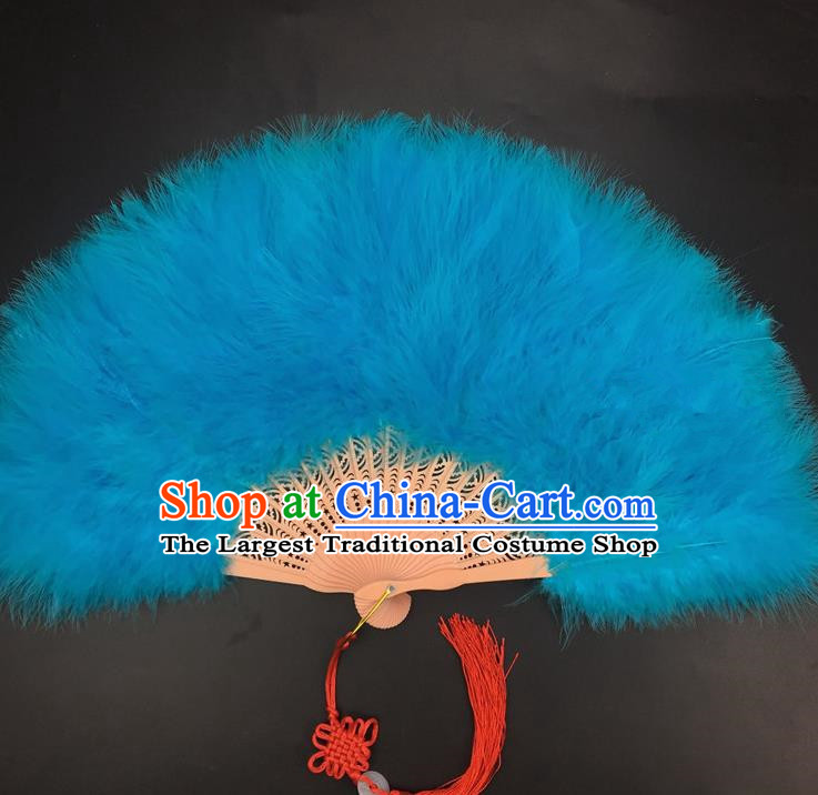 Traditional Chinese Crafts Peacock Blue Feather Folding Fan China Folk Dance Feather Fans