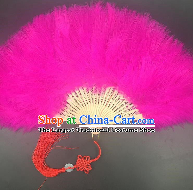 Traditional Chinese Crafts Rosy Feather Folding Fan China Folk Dance Feather Fans