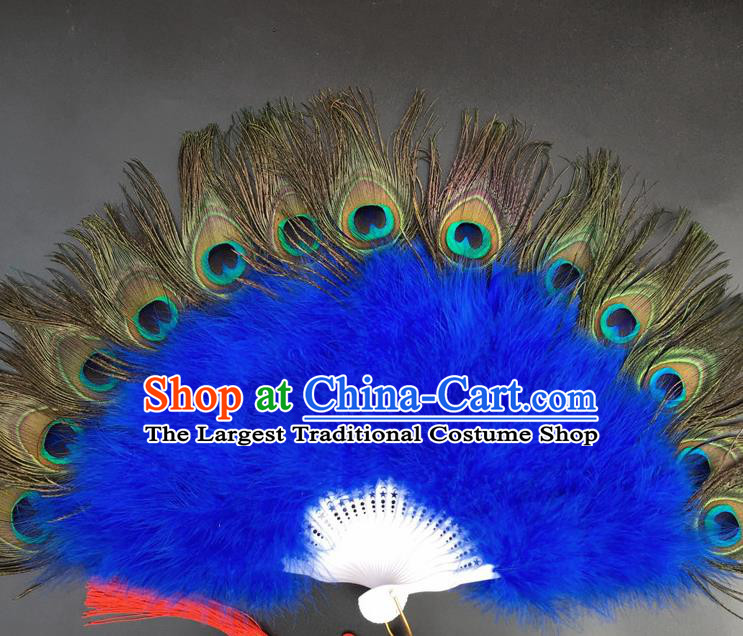 Traditional Chinese Crafts Peacock Feather Folding Fan China Folk Dance Royalblue Feather Fans