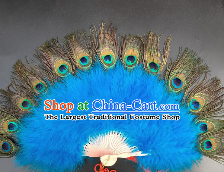 Traditional Chinese Crafts Peacock Feather Folding Fan China Folk Dance Blue Feather Fans
