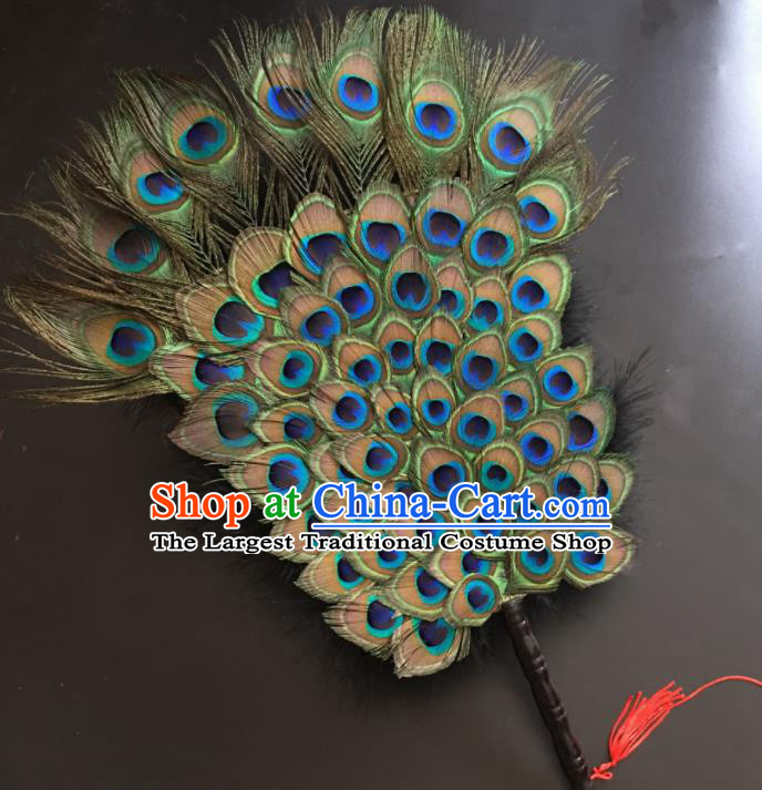Traditional Chinese Crafts Peacock Feather Palace Fan China Folk Dance Fans