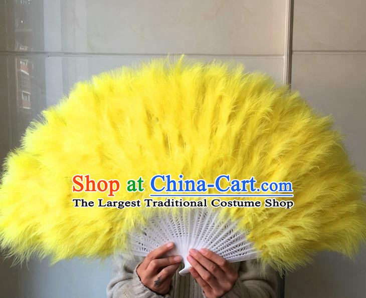 Traditional Chinese Crafts Folding Fan China Folk Dance Yellow Feather Fans