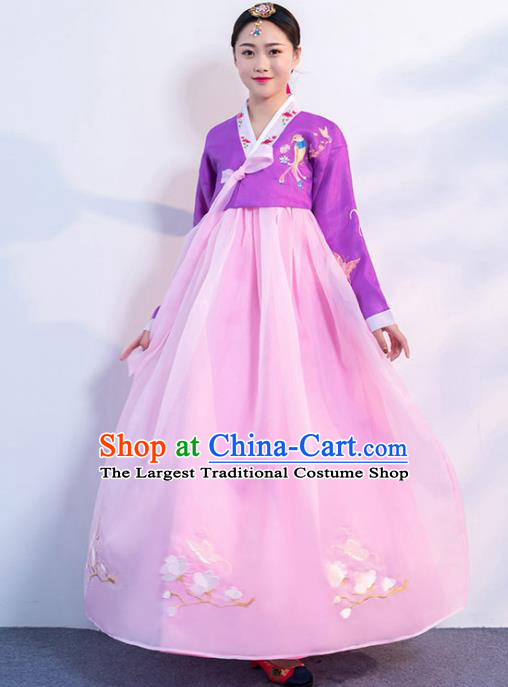 Top Grade Korean Traditional Costumes Asian Korean Hanbok Bride Purple Blouse and Pink Skirt for Women