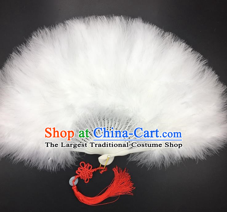 Traditional Chinese Crafts White Feather Folding Fan China Folk Dance Feather Fans