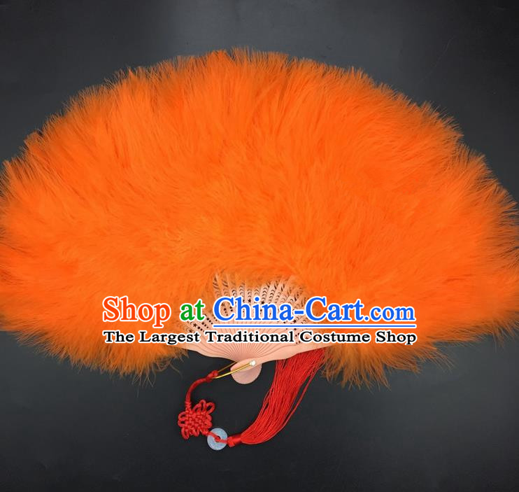 Traditional Chinese Crafts Orange Feather Folding Fan China Folk Dance Feather Fans